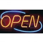 "Real Neon ""Open"" Sign W/Oval Border"