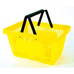 Yellow - Heavy Duty **Standard** - Hand Held Shopping Basket With Plastic Handles ( 1 Pc )