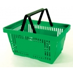 Green - Heavy Duty **Standard** - Hand Held Shopping Basket With Plastic Handles ( 1 Pc )
