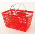Red - Heavy Duty **Jumbo** - Hand Held Shopping Basket With Chrome Handles ( 1 Pc )