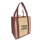Custom Reusable Shopping Bags (100 Per Case) Burgandy & Tan Recyclable & Reusable Shopping Bags/1-Sided Custom Logo