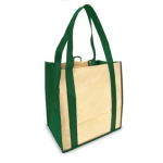 Reusable Shopping Bags (100 Per Case) Green And Tan Recyclable & Reusable Shopping Bags