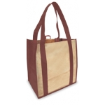 Reusable Shopping Bags (100 Per Case) Burgundy And Tan Recyclable & Reusable Shopping Bags
