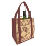 Reusable Shopping Bag (100 Per Case) Burgundy And Tan Recyclable & Reusable Wine Bags