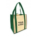 Custom Reusable Shopping Bags (100 Per Case) Green & Tan Recyclable & Reusable Shopping Bags/1-Sided Custom Logo