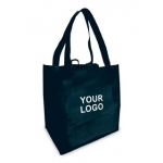 Custom Reusable Shopping Bags (100 Per Case) Black Recyclable & Reusable Shopping Bags/1-Sided Custom Logo