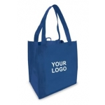 Custom Reusable Shopping Bags (100 Per Case) Blue Recyclable & Reusable Shopping Bags/1-Sided Custom Logo