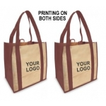 Custom Reusable Shopping Bags (100 Per Case) Burgandy & Tan Recyclable & Reusable Shopping Bags/2-Sided Custom Logo