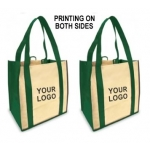 (Green/Tan) Printing On Both Sides: Custom Reusable Shopping Bag (1 Color/2 Sides)