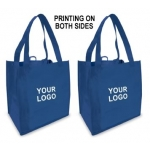 Custom Reusable Shopping Bags (100 Per Case) Blue Recyclable & Reusable Shopping Bags/2-Sided Custom Logo