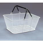 Shopping Baskets (12 Basket Set) White Mesh Baskets/Rubber Coated Wire Handles