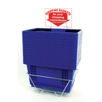 Shopping Baskets (12 Basket Set) Blue Jumbo-Size Shopping Baskets/Plastic Handles