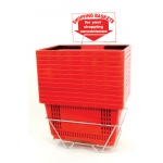 Shopping Baskets (12 Basket Set) Red Jumbo-Size Shopping Baskets/Plastic Handles