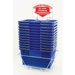 Shopping Baskets (12 Basket Set) Blue Standard-Size Shopping Baskets/Chrome Handles