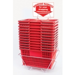 Shopping Baskets (12 Basket Set) Red Standard-Size Shopping Baskets/Chrome Handles