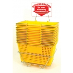 Shopping Baskets (12 Basket Set) Yellow Jumbo-Size Shopping Baskets/Chrome Handles