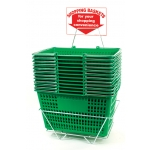 Shopping Baskets (12 Basket Set) Green Jumbo-Size Shopping Baskets/Chrome Handles