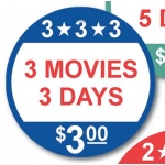 3 Movies-3 Day-$3.00 Label (500/R)